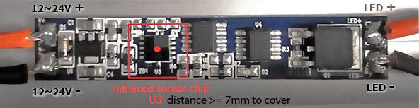 aansluiten nabijheidssensor IR LED profiel