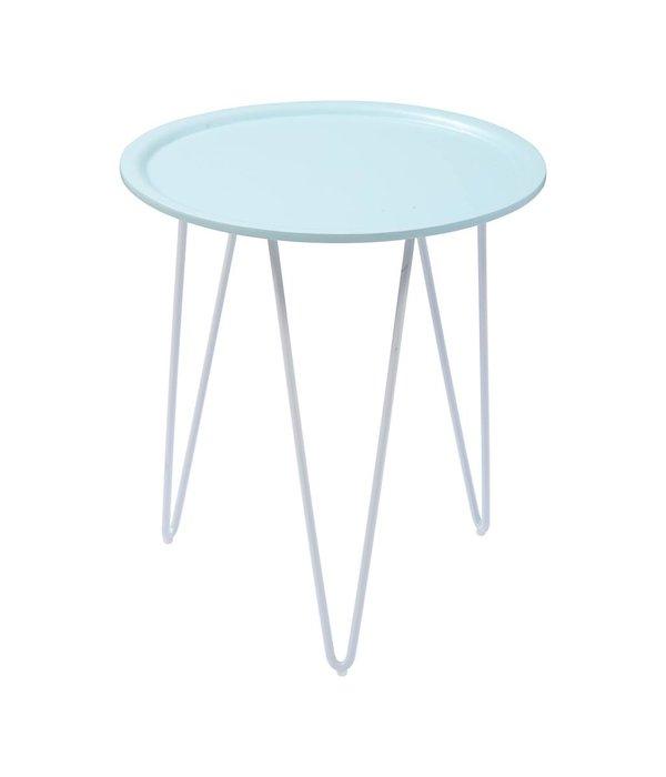 OPENMIND LUCA Beistelltisch Blau mit weißen Beinen