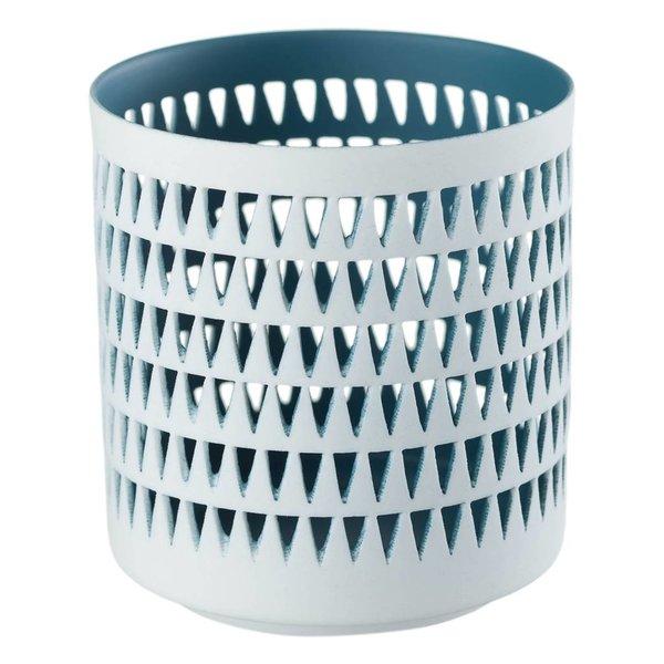 Teelichthalter MILA dunkelblau/weiß