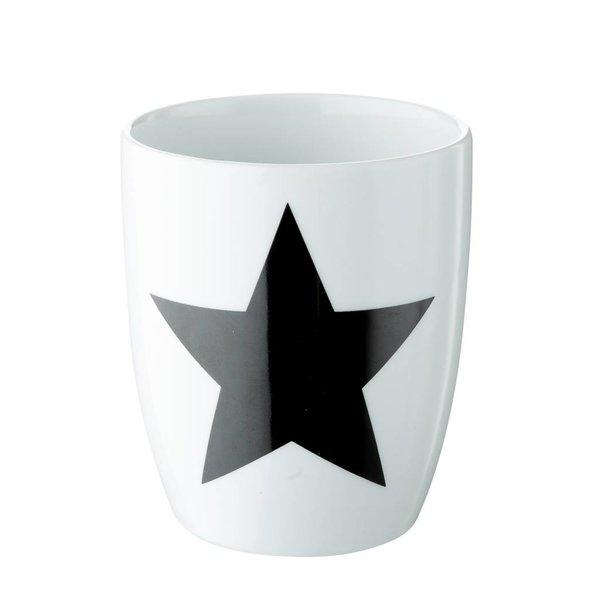 2er Set Tasse in weiß mit schwarzem Stern