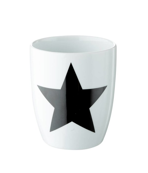 Créton Maison 2er Set Tasse in weiß mit schwarzem Stern