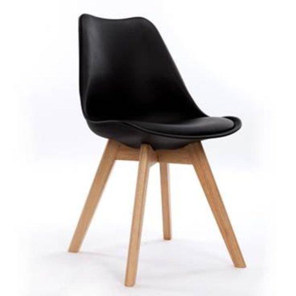 Jackie Stuhl schwarz mit PU Sitzfläche