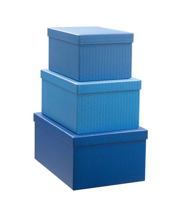 Créton Maison Geschenkboxen Set 3'er cobalt blau