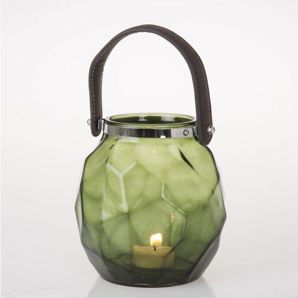 Teelicht Laterne mit Griff - Grün