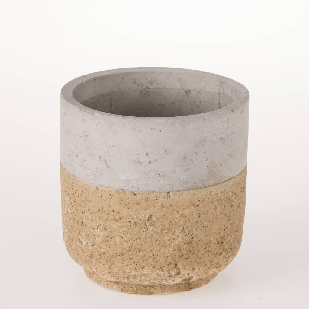 schöner topf / vase im trendigen beton. material: beton mit kork