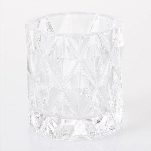 Teelichthalter mit Muster - Klar - Glas