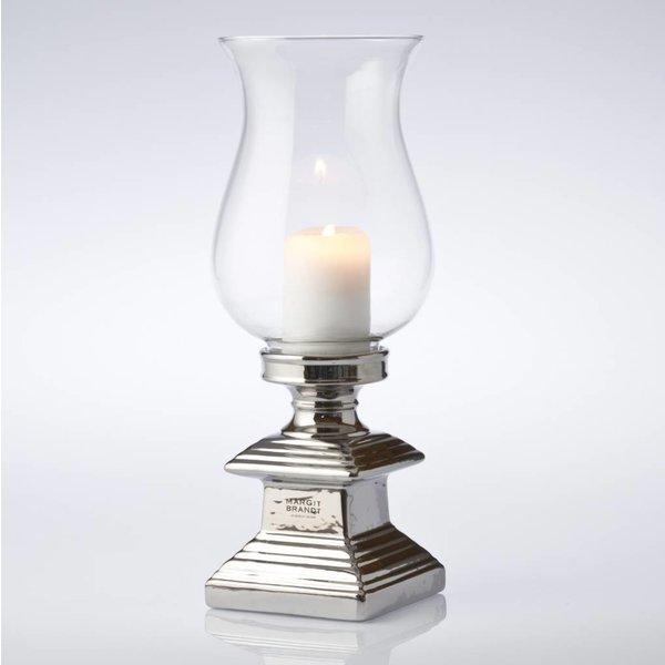 Windlichtglas mit silberfarbigem Fuß - Höhe 39 cm