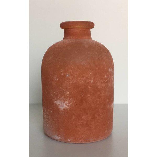 Glasflasche/vase frosted, orange, mittel