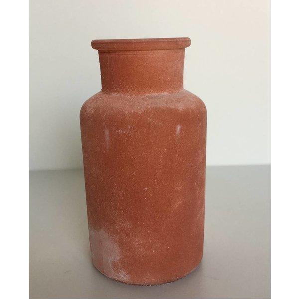 Glasflasche/vase frosted, orange, klein