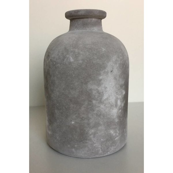 Glasflasche/vase frosted, grau, mittel
