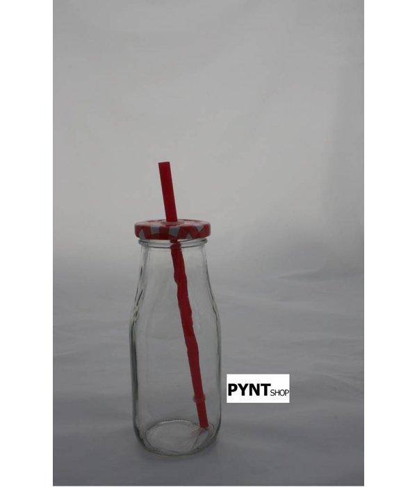 Pyntshop Trinkflasche mit Strohhalm rot