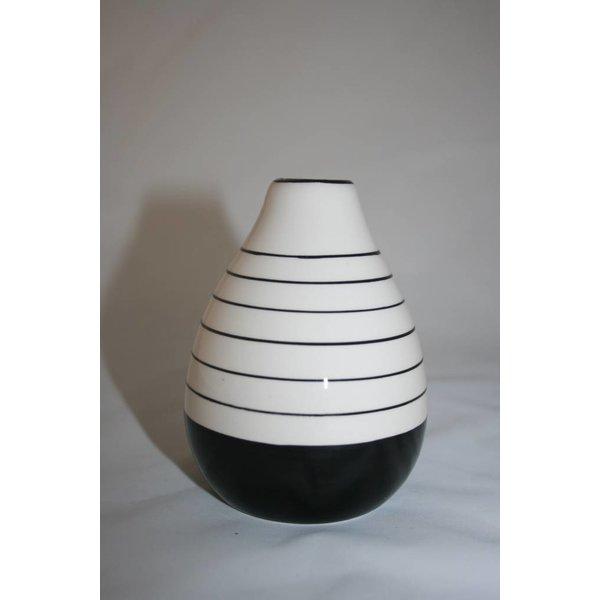 Vase Porzellan schwarz weiß groß