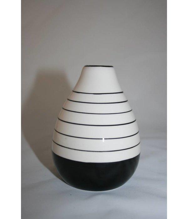 Pyntshop Vase Porzellan schwarz weiß groß