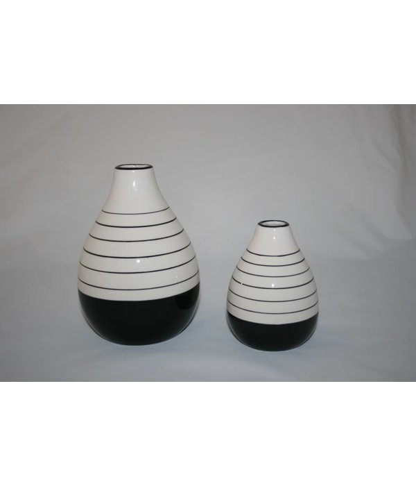 Vase Porzellan schwarz weiß klein