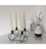 Kerzenhalter Kerzenständer Draht schwarz viereckig