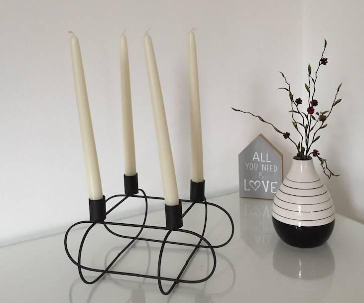 Kerzenhalter draht viereckig für 4 stabkerzen pyntshop
