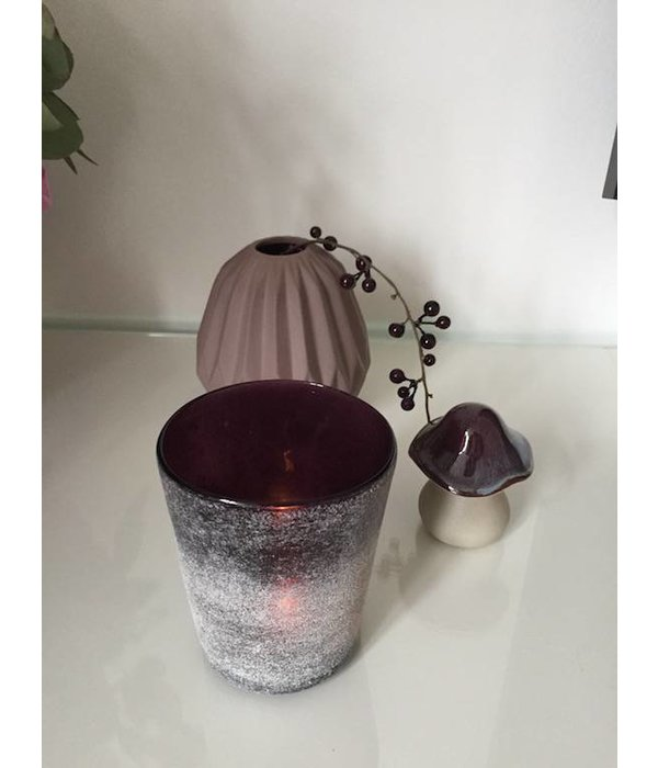 Teelichthalter satiniert in dunkellila