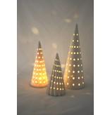 Bahne Keramik Weihnachtsbaum mit LED Beleuchtung -mit Längsrillen