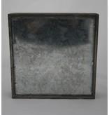 Holz-Zink Tablett quadratisch 21,5x21,5 cm