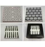 Keramik Untersetzer 6 Stück weiß /schwarz / grau