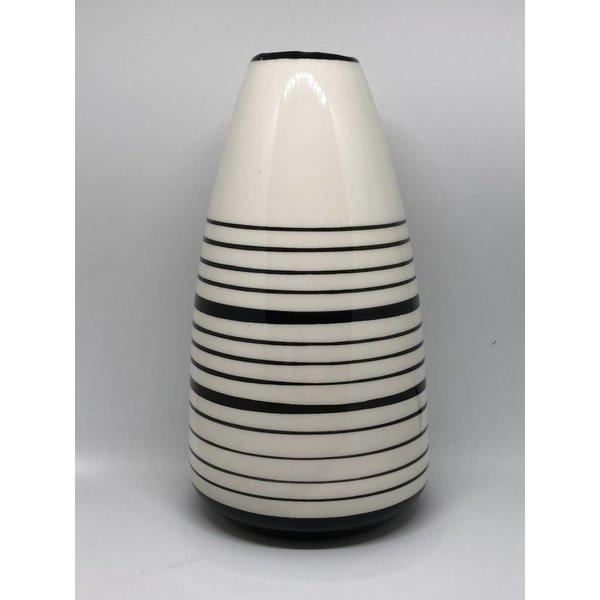 Vase Porzellan schwarz weiß hoch