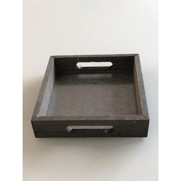 Holz-Zink Tablett quadratisch