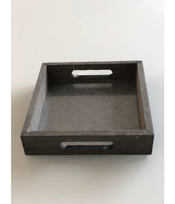 Pyntshop Holz-Zink Tablett quadratisch 21,5x21,5 cm