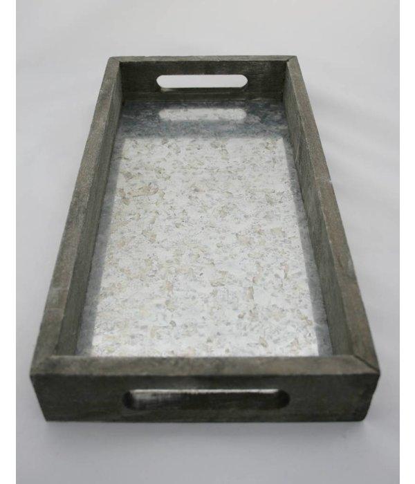 holz zink tablett rechteckig pyntshop. Black Bedroom Furniture Sets. Home Design Ideas