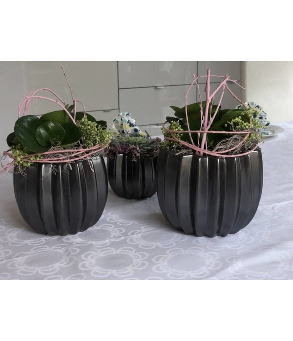 HomeartByBahne Blumentopf/Vase - schwarz braun- Ø 16 cm