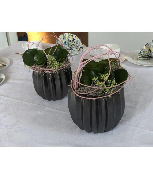 HomeartByBahne Blumentopf/Vase - schwarz braun Ø 11 cm