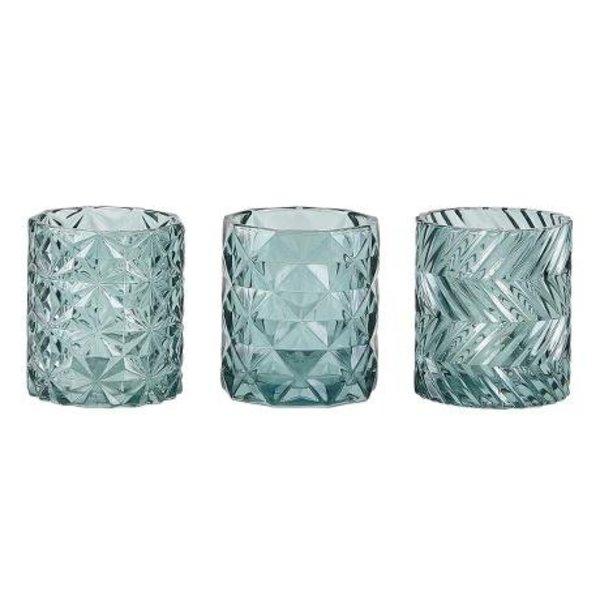 Teelichthalter mit Muster- 3 er Set  - grün - Glas