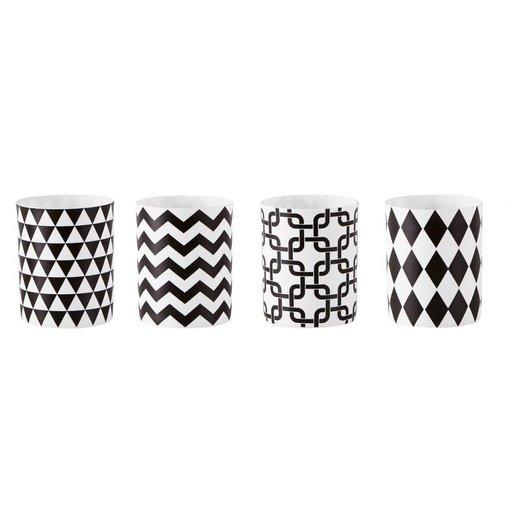 KJ Collection Teelichthalter mit Grafikmuster 4 er Set weiß schwarz