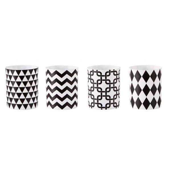 Teelichthalter mit Grafikmuster 4 er Set weiß schwarz