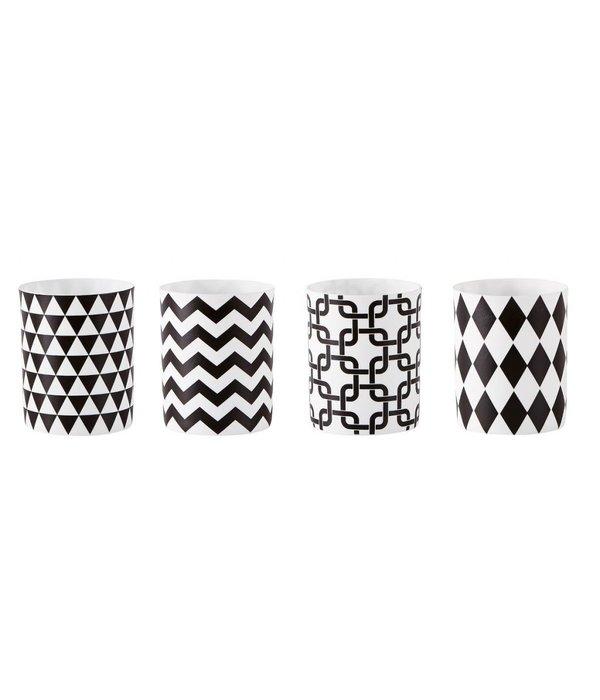 KJ Collection Teelichthalter mit Grafikmuster 4 er Set weiß-schwarz