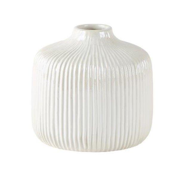 Vase Dolomit weiß/creme mittel tief