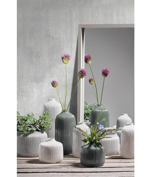 KJ Collection Vase Dolomitweiß/creme mittel