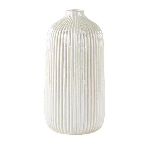 Vase Dolomit weiß/creme hoch