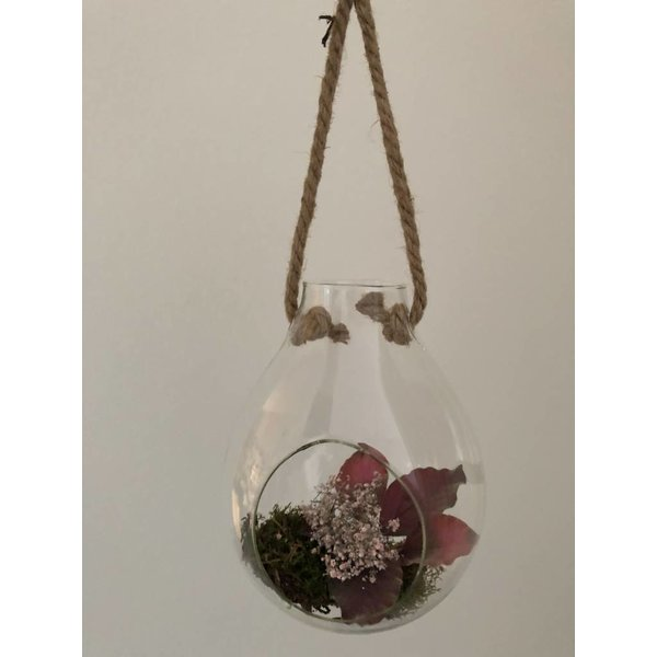 Dekoglas / Vase mit Vintage Seil zum Aufhängen klein