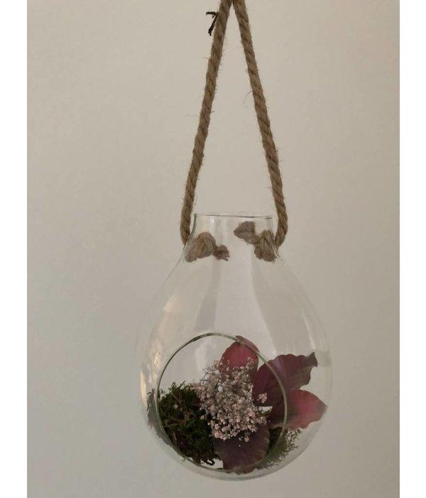 Pyntshop Dekoglas/ Vase mit Vintage Seil zum Aufhängen klein
