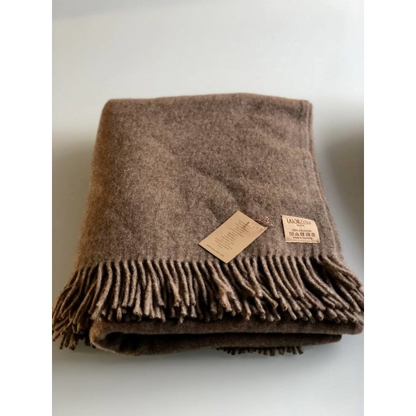 Plaid Decke aus Schafwolle 100% Natur schlamm