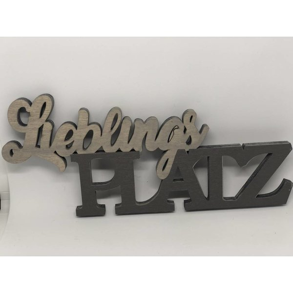 3 D Schriftzug Lieblingsplatz Holz braun/grau