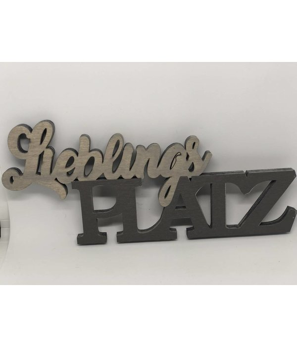 Pyntshop 3 D Schriftzug Lieblingsplatz Holz braun/grau
