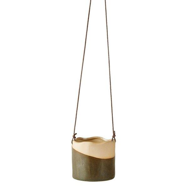 Blumentopf/Übertopf  hängend dunkelgrün Keramik