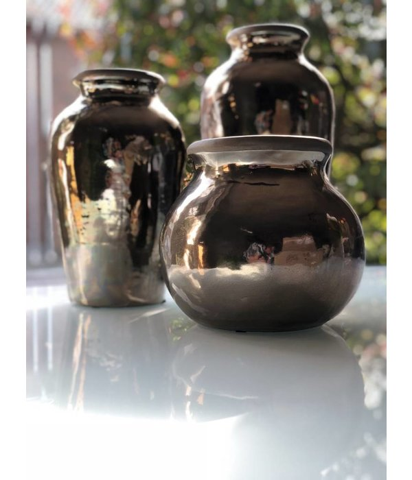 """Pyntshop Vase """"Arizona"""" Keramik H 35 cm schwarz/silber"""