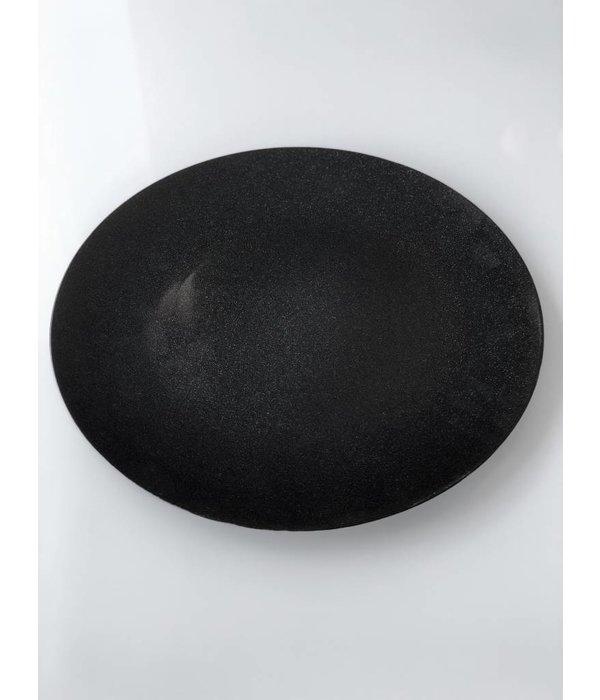 Platzteller, Dekoteller, Obstteller schwarz glimmer aus Kunststoff ø 33 cm