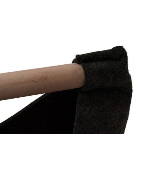 Filztasche anthrazit  mit Holzhenkel groß
