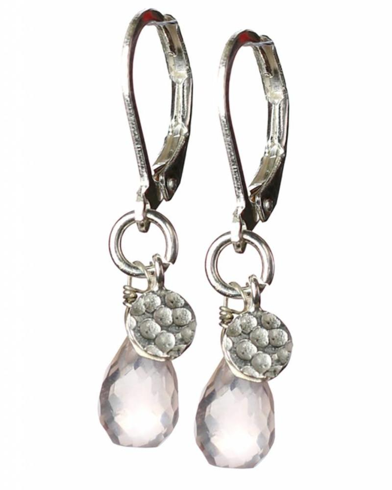 exoal rose quartz drop earrings