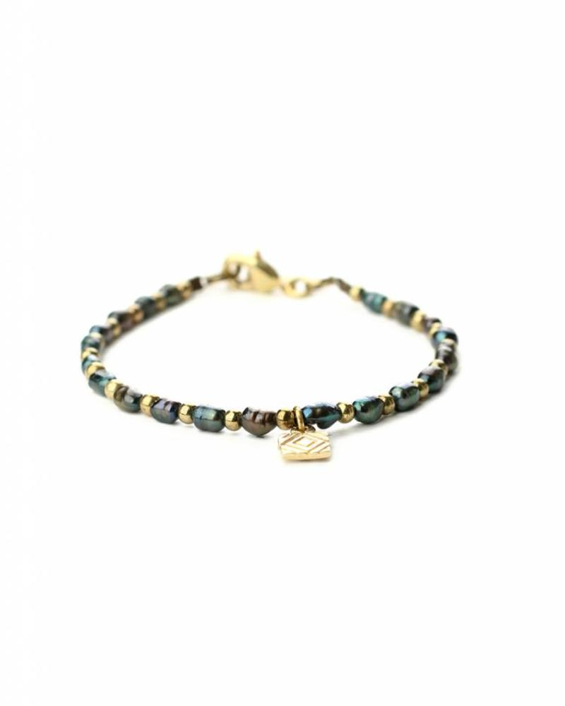 exoal Blauwe zoetwater parel armband