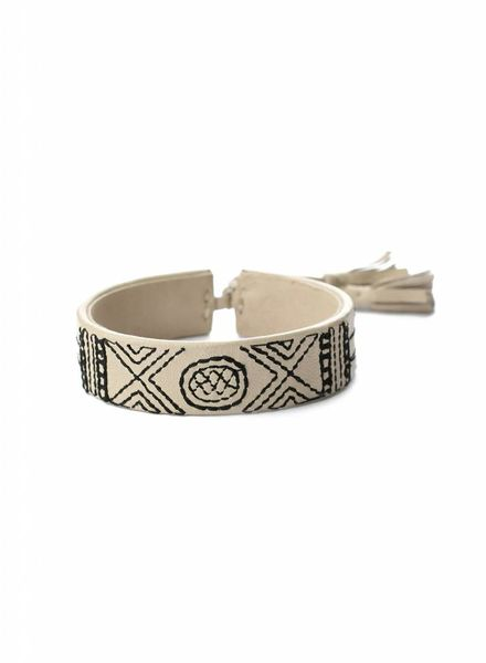 exoal Beige stitch leren Armband