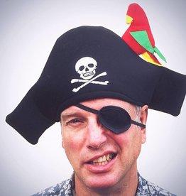 Piraten Hoed met Papagaai (stof) + Ooglapje